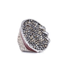 Anel Camila Klein Brotar Conceito Cristal Rock The Crown Prata Velho