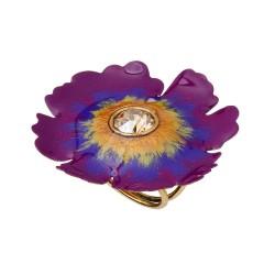 Anel Nadia Gimenes (Re)Nascer Flor de Cerejeira Esmaltado Violeta Dourado