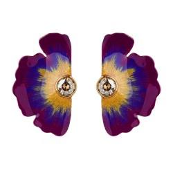 Brinco Nadia Gimenes (Re)Nascer Flor de Cerejeira Lateral Violeta Dourado