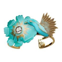 Bracelete Nadia Gimenes (Re)Nascer Aro Duplo Flor de Cerejeira e Beija Flor Esmaltado Turquesa Dourado