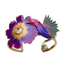 Bracelete Nadia Gimenes (Re)Nascer Aro Duplo Flor de Cerejeira e Beija Flor Esmaltado Violeta Dourado