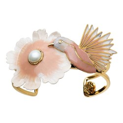 Bracelete Nadia Gimenes (Re)Nascer Aro Duplo Flor de Cerejeira e Beija Flor Esmaltado Nude Dourado