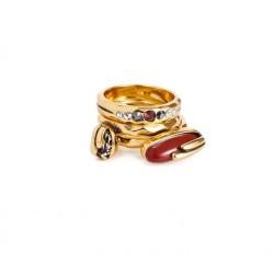 Anel Camila Klein Regar Kit Alianças Vermelho Ouro Velho