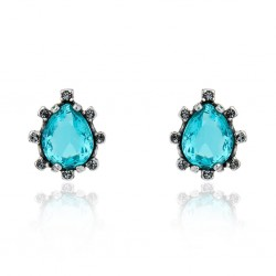 Brinco Claudia Arbex Cristal Blue Edition 7006 Prata Vintage