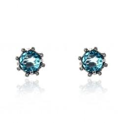 Brinco Claudia Arbex Cristal Blue Edition 7003 Prata Vintage