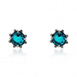 Brinco Claudia Arbex Cristal Blue Edition 7003Z Prata Vintage