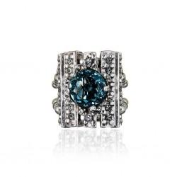 Anel Claudia Arbex Cristal Blue Edition 7059 Prata Vintage
