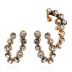 Brinco Ear Cuff Monica Di Creddo Flor de Lis Glam Ouro Vintage
