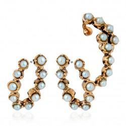 Brinco Ear Cuff Monica Di Creddo Flor de Lis Glam Pérolas Ouro Vintage