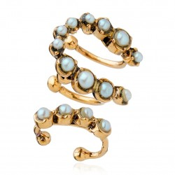 Brinco Ear Cuff Monica Di Creddo Flor de Lis Glam P. Ouro Vintage