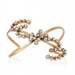Bracelete Monica Di Creddo Flor de Lis Glam Cristal Ouro Vintage