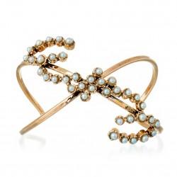 Bracelete Monica Di Creddo Flor de Lis Glam Ouro Vintage