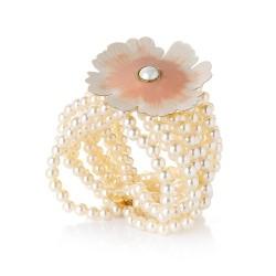 Bracelete Nadia Gimenes (Re)Nascer Silicone Flor de Cerejeira Nude Dourado