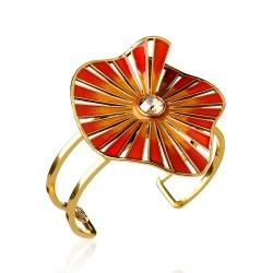 Bracelete Nádia Gimenes (Re)Nascer Aro Duplo Caracol Terracota Dourado