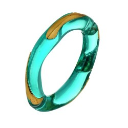Bracelete Nádia Gimenes Delos Resina Turquesa Dourado