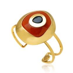 Bracelete Nádia Gimenes Resort Mykonos Olho Grego Terracota Dourado