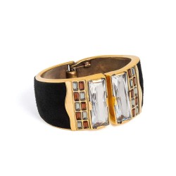 Bracelete Camila Klein Porus Camurça Preta Ouro Velho