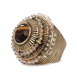 Anel Claudia Arbex Sândalo Metal Ouro Vintage
