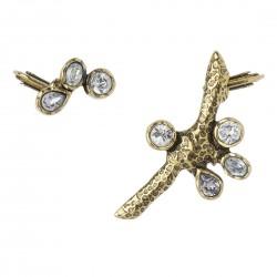 Brinco Camila Klein Kit 2 Ear Cuffs Cristais Atlântida 3 Ouro Vintage