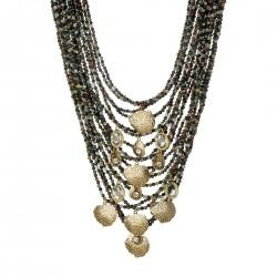Colar Camila Klein Atlântida 3 Jade e Pedra Estrela Ouro Vintage