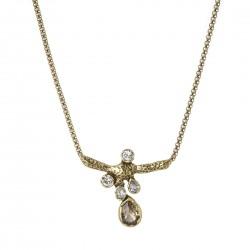 Colar Camila Klein Atlântida 3 Curto Gotas Cristais Ouro Vintage