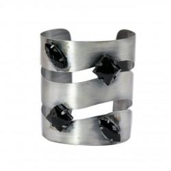 Bracelete Luiza Rogi Vazado Pedras Prata Envelhecido