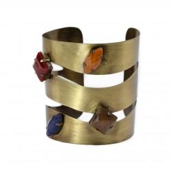 Bracelete Luiza Rogi Vazado Pedras Ouro Envelhecido