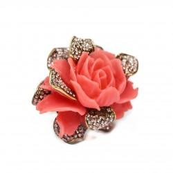 Anel T.Arrigoni Rosália Coral Ouro Vintage