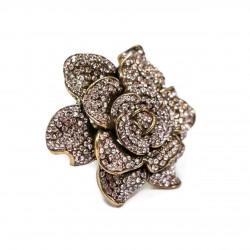 Anel T.Arrigoni Flor Cristal Ouro Vintage