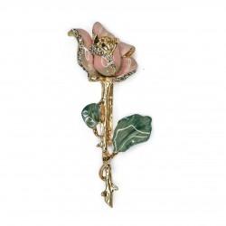 Broche S&B Acessórios Essência Rosa Esmaltada Ouro Vintage