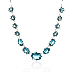 Colar Claudia Arbex Blue Edition Prata Vintage