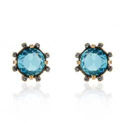 Brinco Claudia Arbex Cristal Blue Edition Ouro Vintage