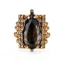 Anel Claudia Arbex Cristal Blue Edition Ouro Vintage