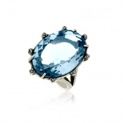 Anel Claudia Arbex Cristal Blue Edition Prata Vintage