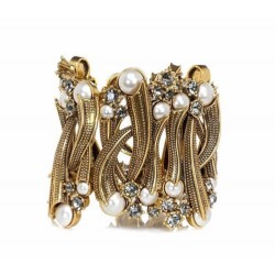 Pulseira Claudia Arbex Dior Pérola Cristal Ouro Vintage