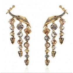 Brinco Monica Di Creddo Ear Cuff Chandelier Flor de Lis Ouro Vintage