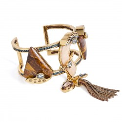 Bracelete Camila Klein Semear Pedras Naturais Ouro Velho