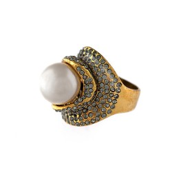 Anel Claudia Arbex Perles Pérola Ouro Vintage
