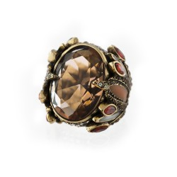 Anel Claudia Arbex Shiraz Cristal Ouro Vintage
