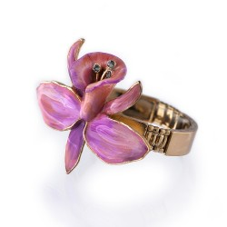 Pulseira S&B Acessórios Orquídea Esmaltação e Ouro Velho