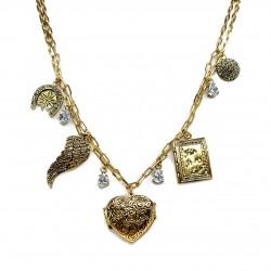 Colar Hector Albertazzi Talismã Reliquary Love Curto Ouro Vintage