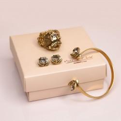 Conjunto Claudia Arbex Bauhaus Cristais Ouro Vintage
